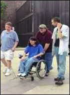 Richard Castaldo in Bowling for Columbine, along with Michael Moore, Mark Taylor, and Brooks Brown