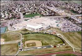 Aerial view of Columbine's baseball field