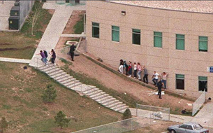 Students and faculty escape from Columbine's teacher's lounge