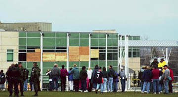 Outside the damaged Columbine cafeteria