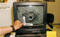 Monitor damaged by Dylan Klebold