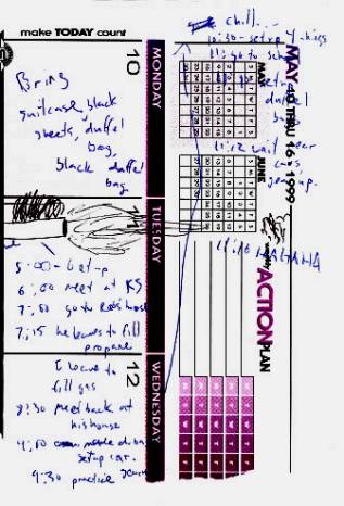 Eric's dayplanner for 4-20-1999