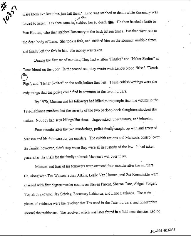 dylan klebold s creative writing charles manson report - Example Of Creative Writing Essay