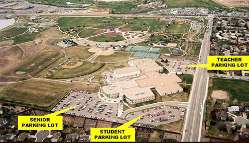 Outside Columbine High School - aerial map of the school grounds