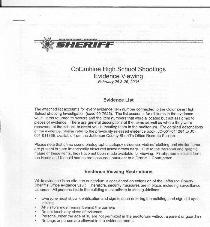 Colorado Shooting Evidence: Columbine High School Shooting Evidence Exhibit
