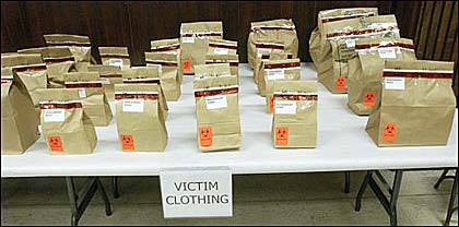 Columbine victims clothing bagged and biohazard sealed